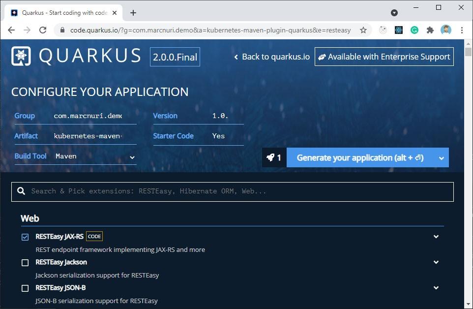 Quarkus project bootstrap (code.quarkus.io)