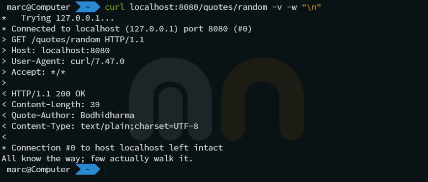 Screenshot of the result of executing curl localhost:8080/quotes/random -v